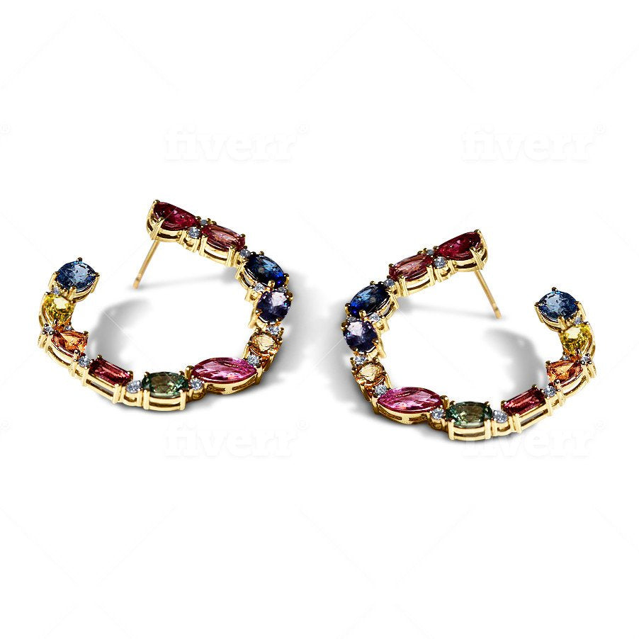 Rainbow Brite Multi Color Sapphire Diamond Circle Hoops