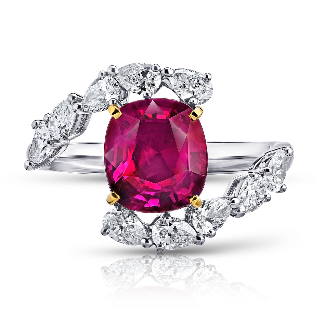3 Ct Cushion Red Ruby Ring with Pear Diamonds