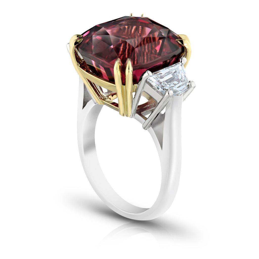 Miss Diamond Ring red spinel with trapezoid diamonds gold and white gold