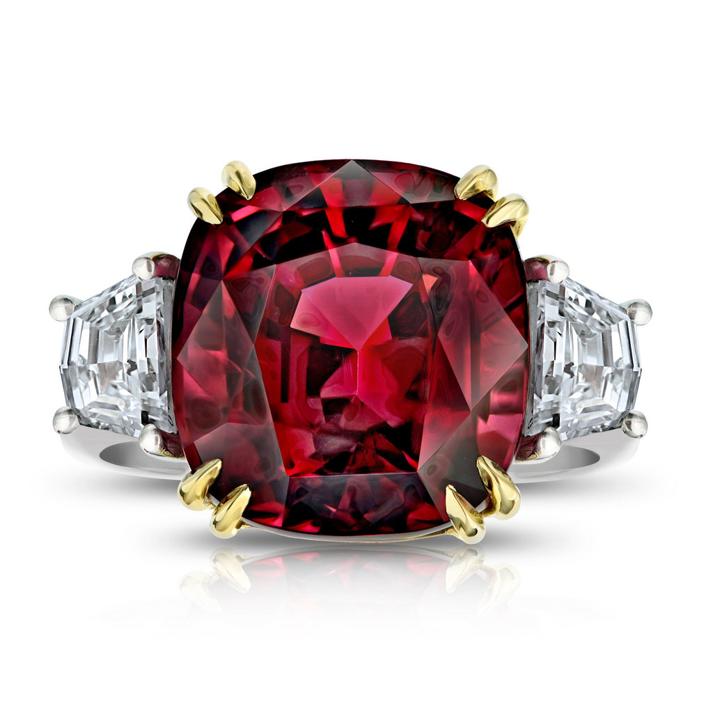 Miss Diamond Ring red spinel with trapezoid diamonds gemstone cocktail jewelry