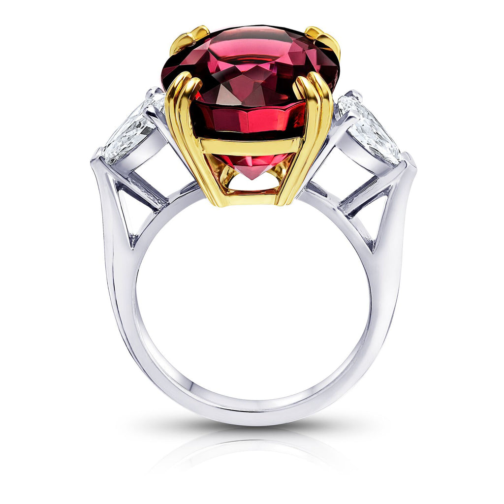 Miss Diamond Ring red Spinel yellow and white gold jewelry