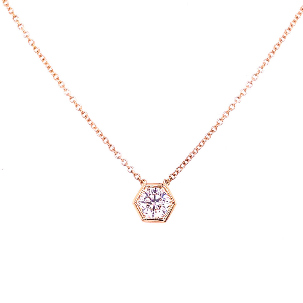 Miss Diamond Ring pink rose gold hexagon pendant necklace