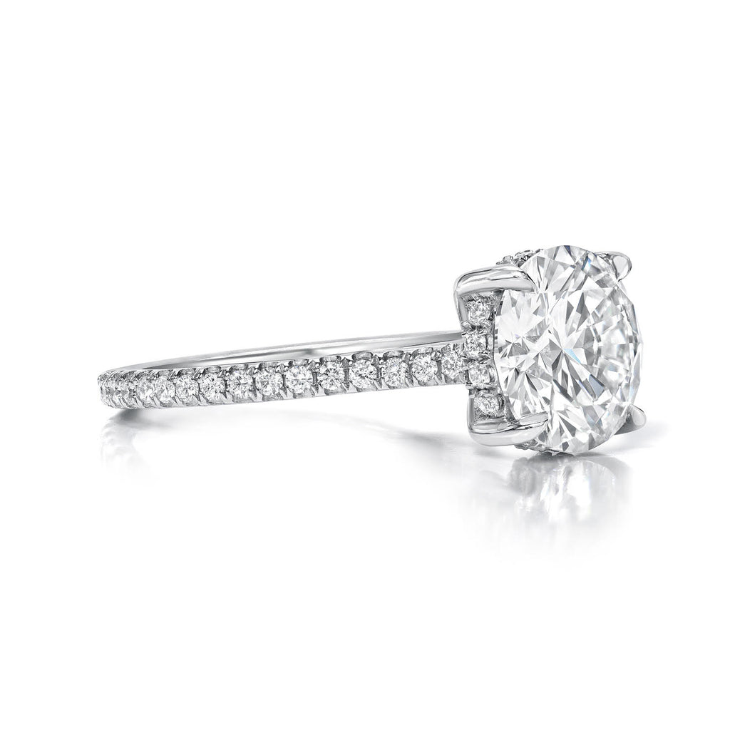 Round Brilliant Cut Diamond Pave Engagement Ring