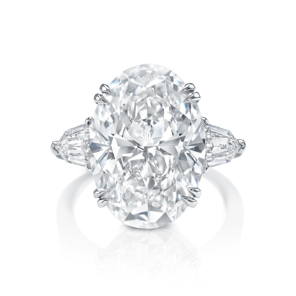 Three Stone Oval Cut Diamond Engagement Ring