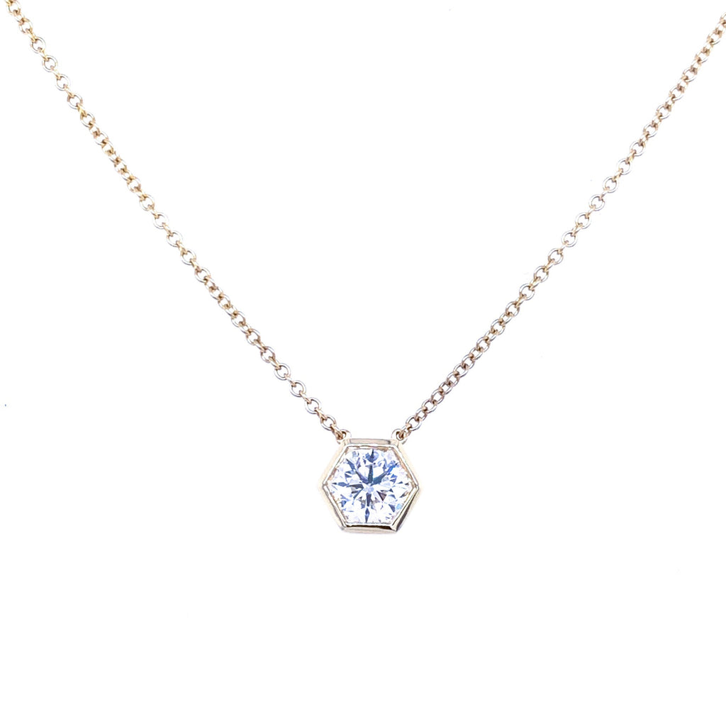Miss Diamond Ring hexagon pendant necklace pendant in white gold