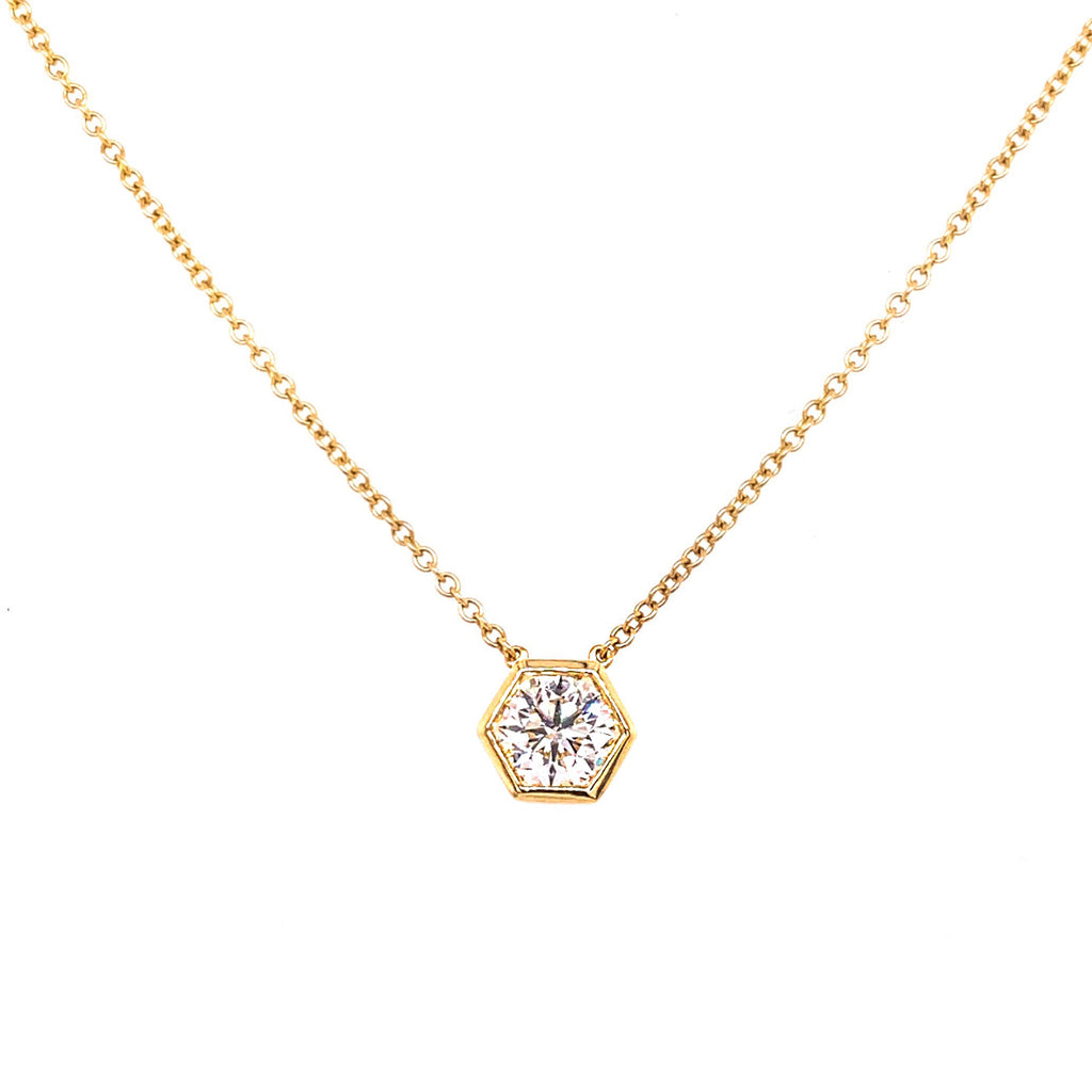 Miss Diamond Ring hexagon yellow gold pendant necklace