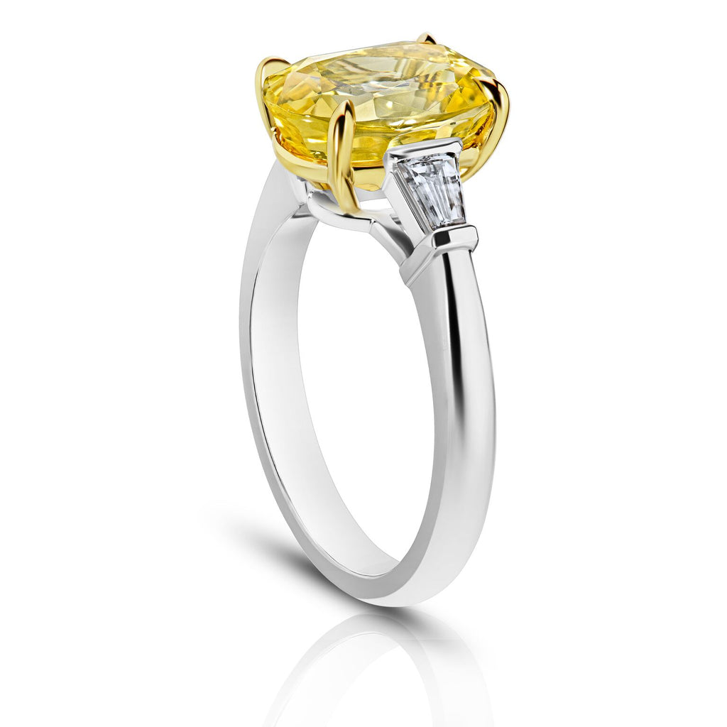 4.95 ct Three Stone Oval Yellow Sapphire Ring with Baguette Diamonds