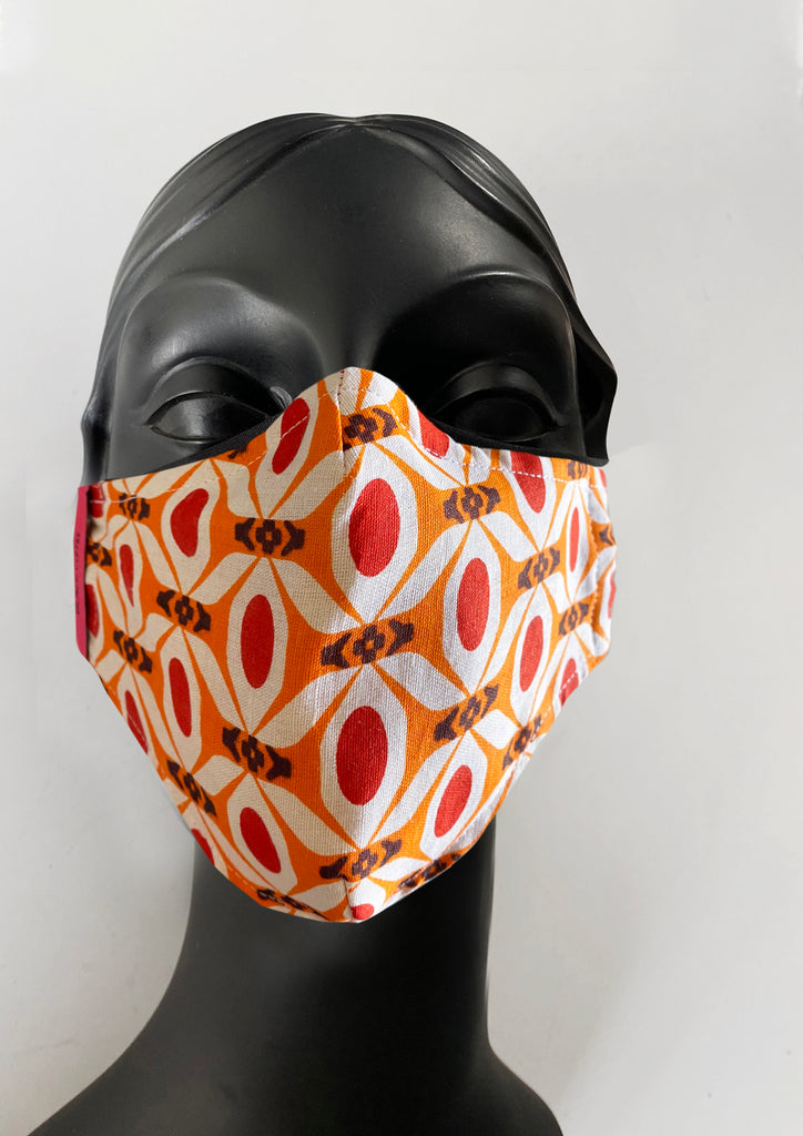 BlackCoffee OrangeRetro FaceMask