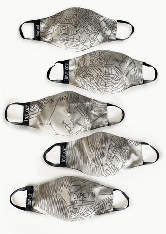 CapeTown CityMap FaceMask - set of 5