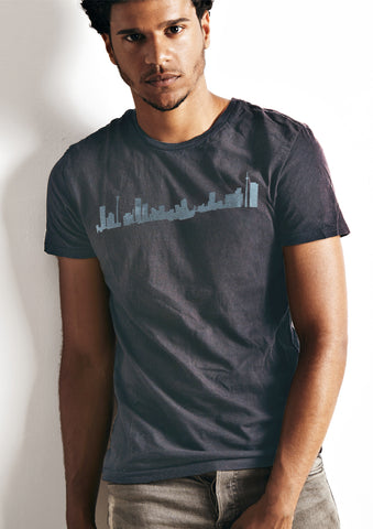 Skyline T-Shirt blue on charcoal
