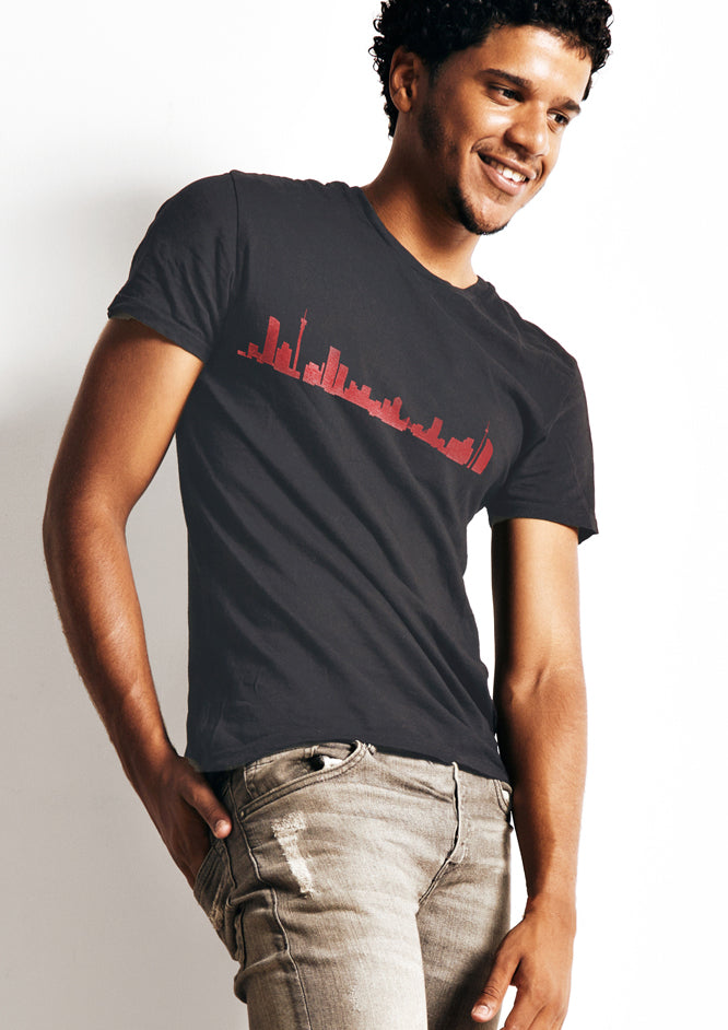 Skyline T-Shirt red on charcoal
