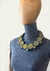 BlackCoffee Ribbon Necklace - yellow and navy