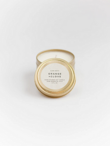 Orange + Clove gold tin candle