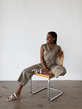 Load image into Gallery viewer, Slit Back Jumpsuit - Khaki