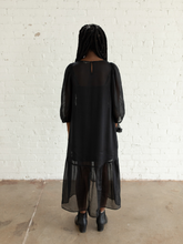 Load image into Gallery viewer, Black Peasant dress (XS)