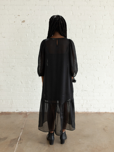 Black Peasant dress (XS)