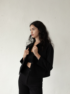 Cropped Cotton Canvas Jacket - Black (XS/S)