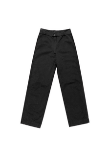 Cotton Fly Front Pant with Pockets - Black (S + L)