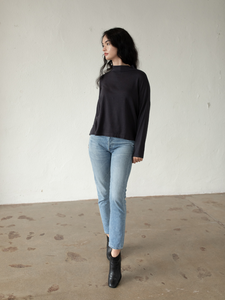 Jay Mock Neck Top - Washed Black