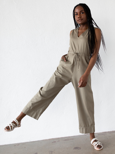 Slit Back Jumpsuit - Khaki