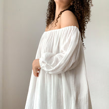Load image into Gallery viewer, Cassatt Dress, Cropped - Cotton Bubble Gauze in White (petite size available)