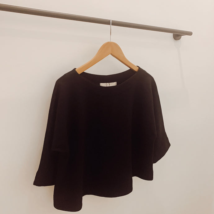 Stella Top in Black Wool