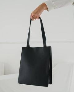 Medium Leather Retail Tote - Black