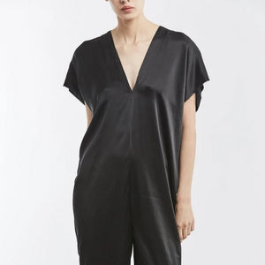 Everyday Jumpsuit in Black Silk Charmeuse