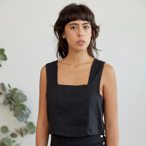 Pansy Top in Black Linen