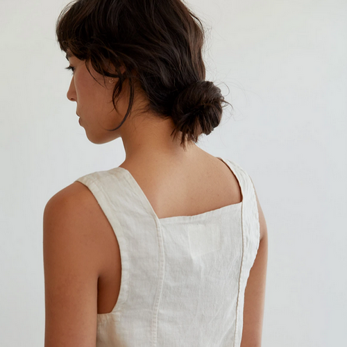 Pansy Top in Dune Linen