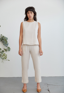 Elaina Top in Dune Cotton Gauze
