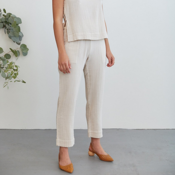 Cara Pant in Dune Cotton Gauze