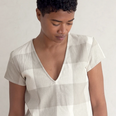 Silk V Neck Top in Natural Gingham