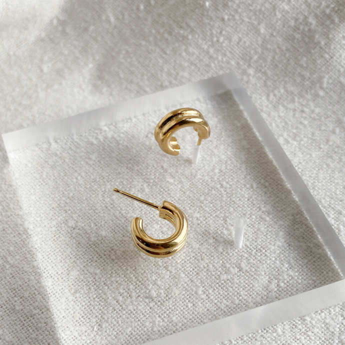 Double Lil Jane Hoops in Gold