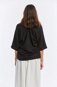 Muse Top in Black Silk Noil