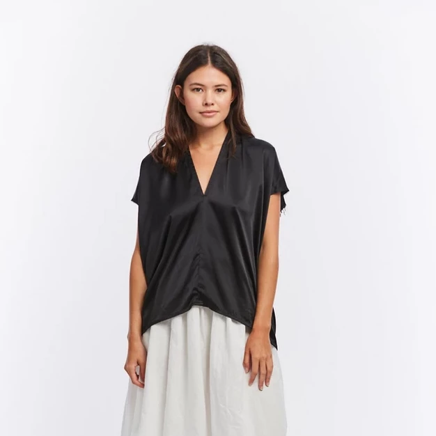 Everyday Top in Black Silk Charmeuse