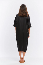 Load image into Gallery viewer, Muse Dress in Black Silk Charmeuse