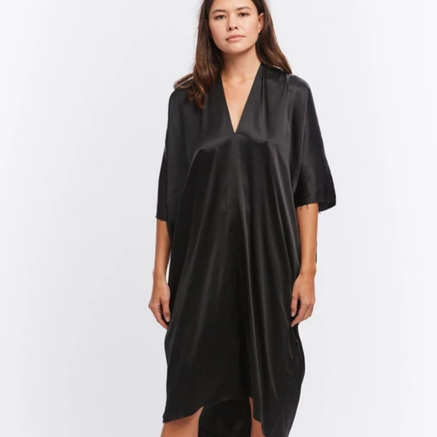 Muse Dress in Black Silk Charmeuse