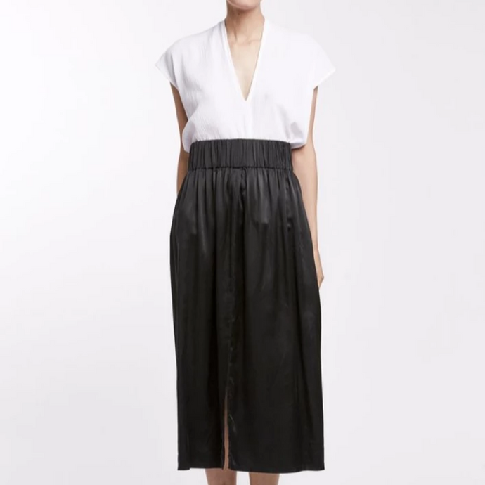 Paper Bag Skirt in Black Silk Charmeuse