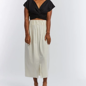 Paper Bag Skirt in Natural Silk Noil