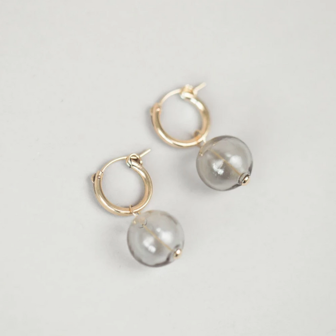 Taryn Smoke Glass Hoops in Gold