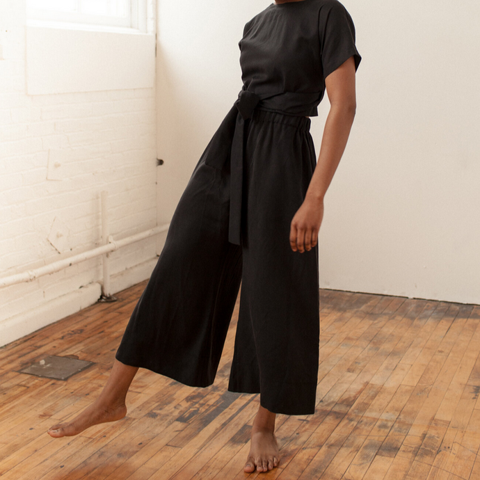 Wide Pant in Black Tencel