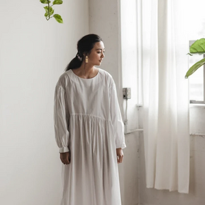 Jayme Dress in White Cotton Poplin