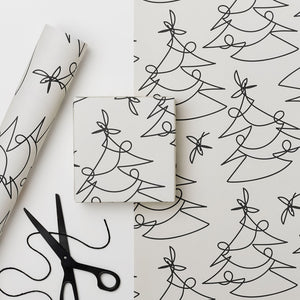 Tree Lines - Recycled Paper Gift Wrap Sheet