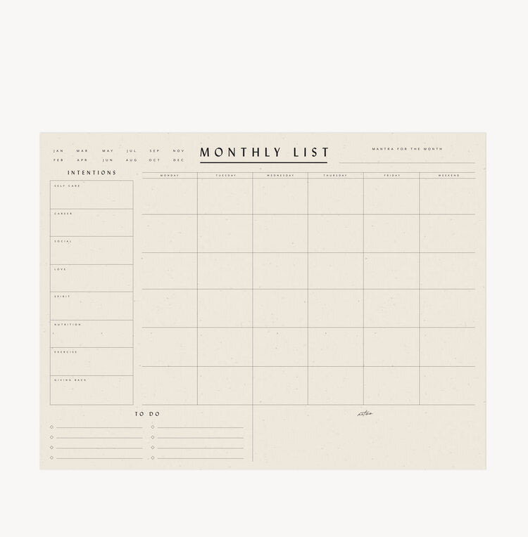 Monthly List Desk Pad