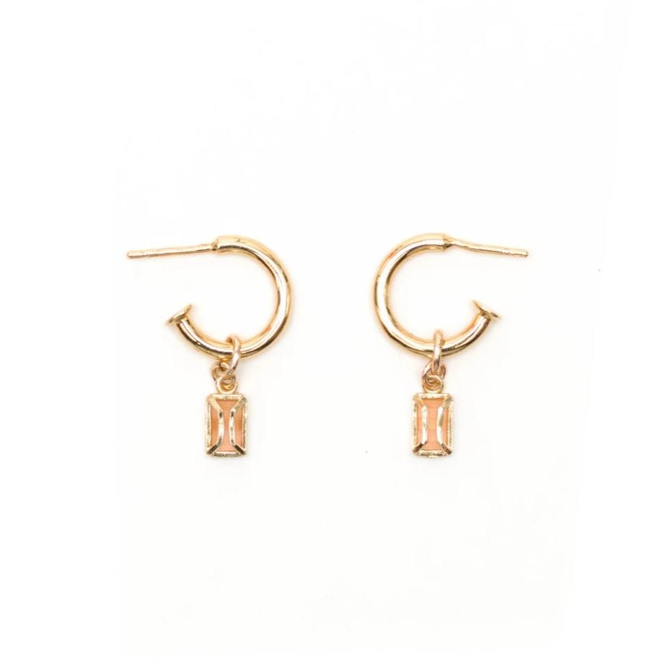 Edie Hoops - Peach Moonstone