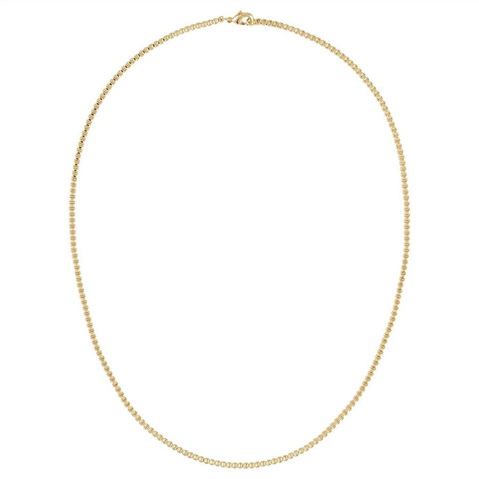 Round Box Chain Necklace in 14k Gold