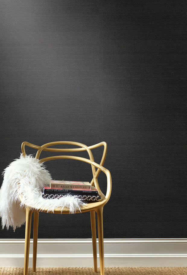 AB2195MH Magnolia Home Grasscloth Sisal Wallpaper York Black