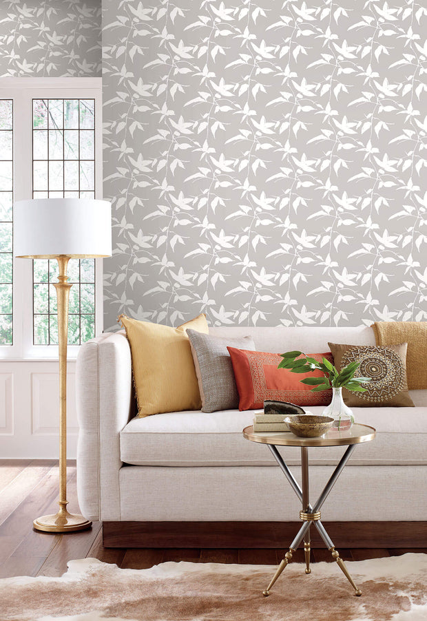 Ronald Redding Persimmon Leaf Wallpaper - Grey