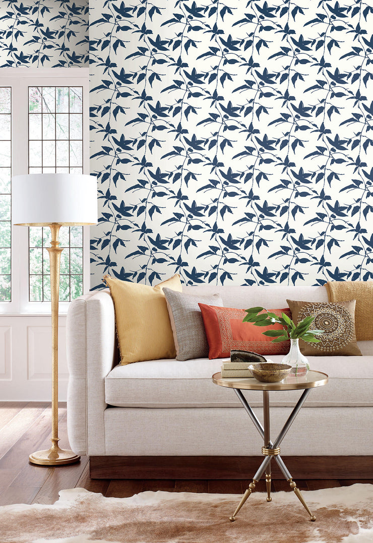 Ronald Redding Persimmon Leaf Wallpaper - Blue, White